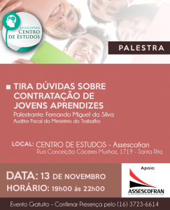 Palestra: CONTRATAÇÃO DE MENORES APRENDIZES @ CENTRO DE ESTUDOS - ASSESCOFRAN